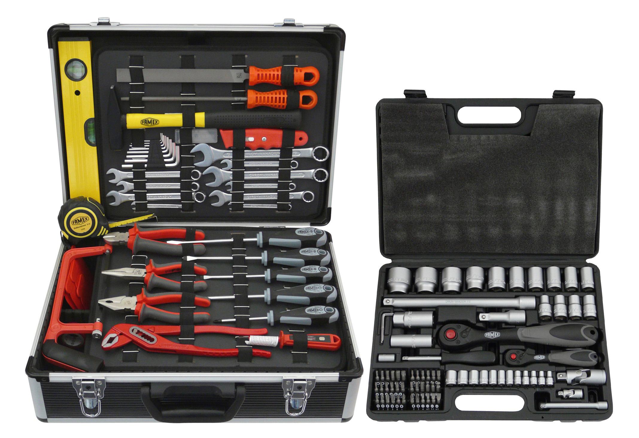 FAMEX Werkzeugkoffer »744 FX-48«, 159-tlg. Set, inkl. 76-tlg. Steckschlüsselsatz   Baumarkt > Werkzeug > Werkzeug-Sets   Schwarz   Stahl - Glasfaser   FAMEX