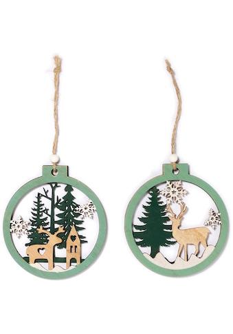 CHRISTMAS GOODS by Inge Dekohänger »Hirsch im Wald« (Set, 6 Stück) kaufen
