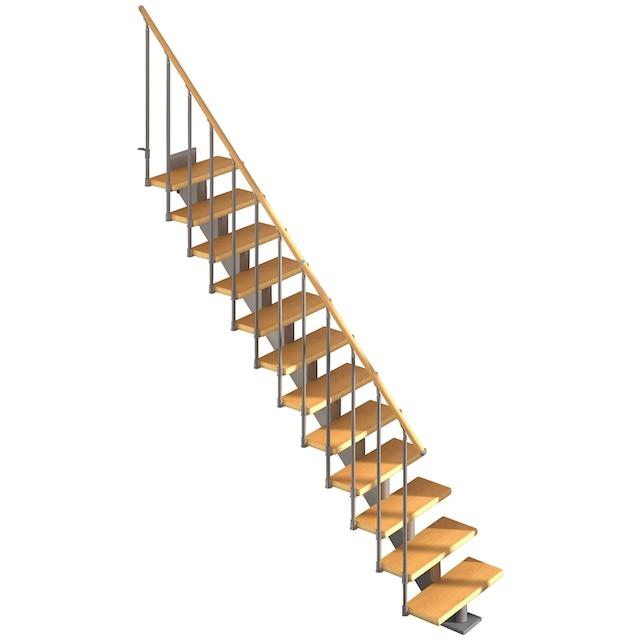 DOLLE Mittelholmtreppe »Hamburg Birke 75«, bis 258 cm, Metallgeländer, versch. Ausführungen