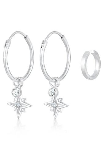Elli Creolen-Set »Ohrringe Creolen Stern Astro Earcuff, 0301980820«, (Set, 7 tlg.), mit Kristallen und abnehmbaren Einhängern kaufen