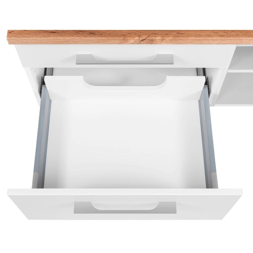HELD MÖBEL Badmöbel-Set »Davos«, (3 St.), Spiegel inklusive Beleuchtung, Regal und Waschplatz