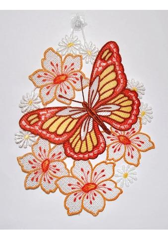 Stickereien Plauen Fensterbild »Schmetterling auf Blume«, Hakenaufhängung kaufen