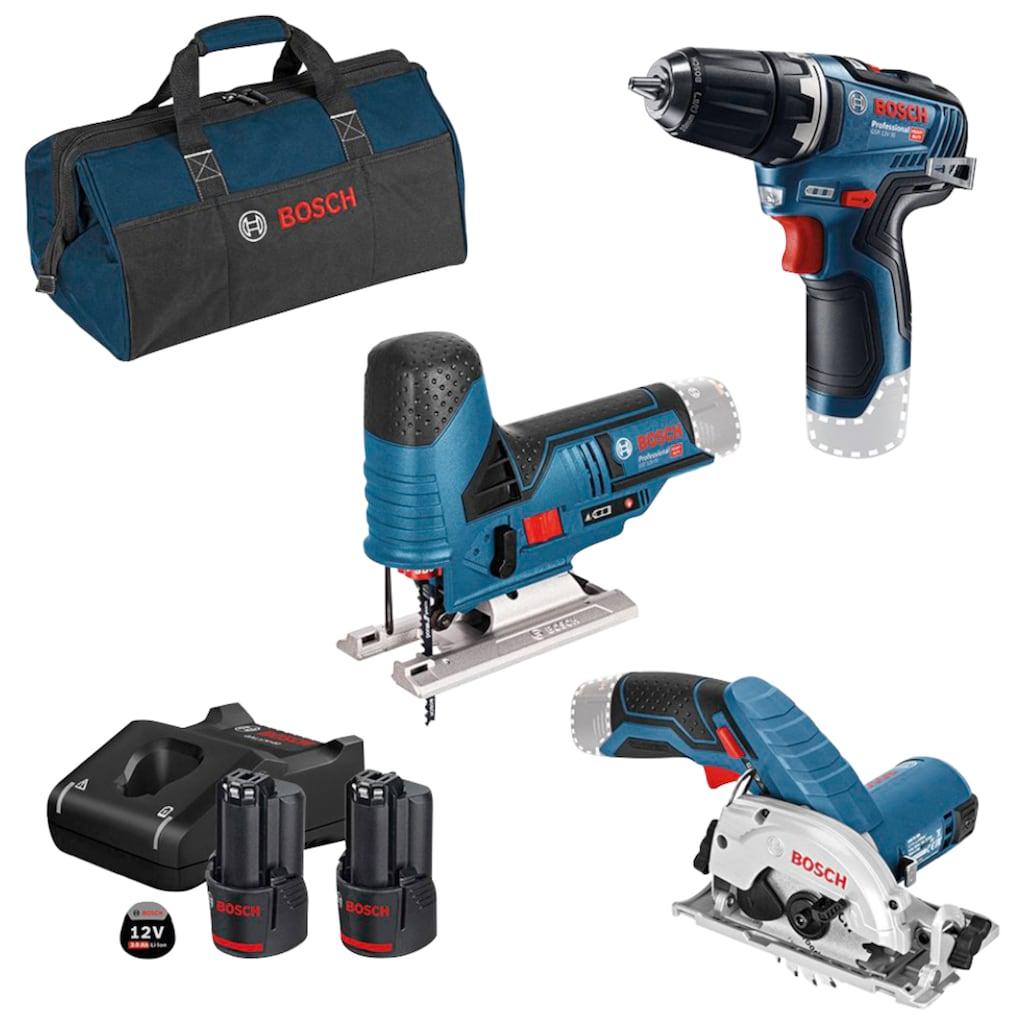 Bosch Professional Powertools Akku-Schrauber, mit 3 Werkzeugen, Werkzeugtasche, Akkus und Ladegerät