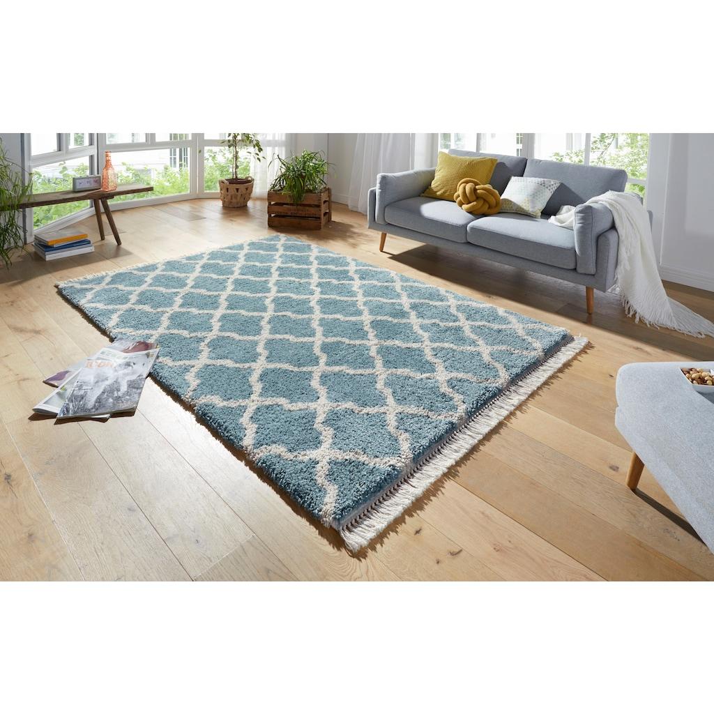 MINT RUGS Hochflor-Teppich »Pearl«, rechteckig, 35 mm Höhe, pastell Farben mit Fransen