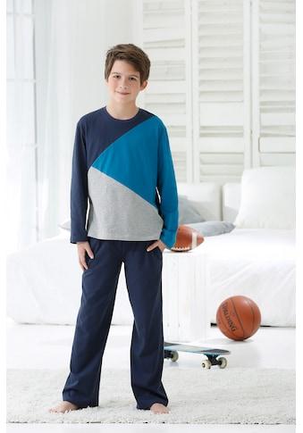 le jogger® Pyjama, (2 Stück), für Jungs im Colourblock-Design kaufen