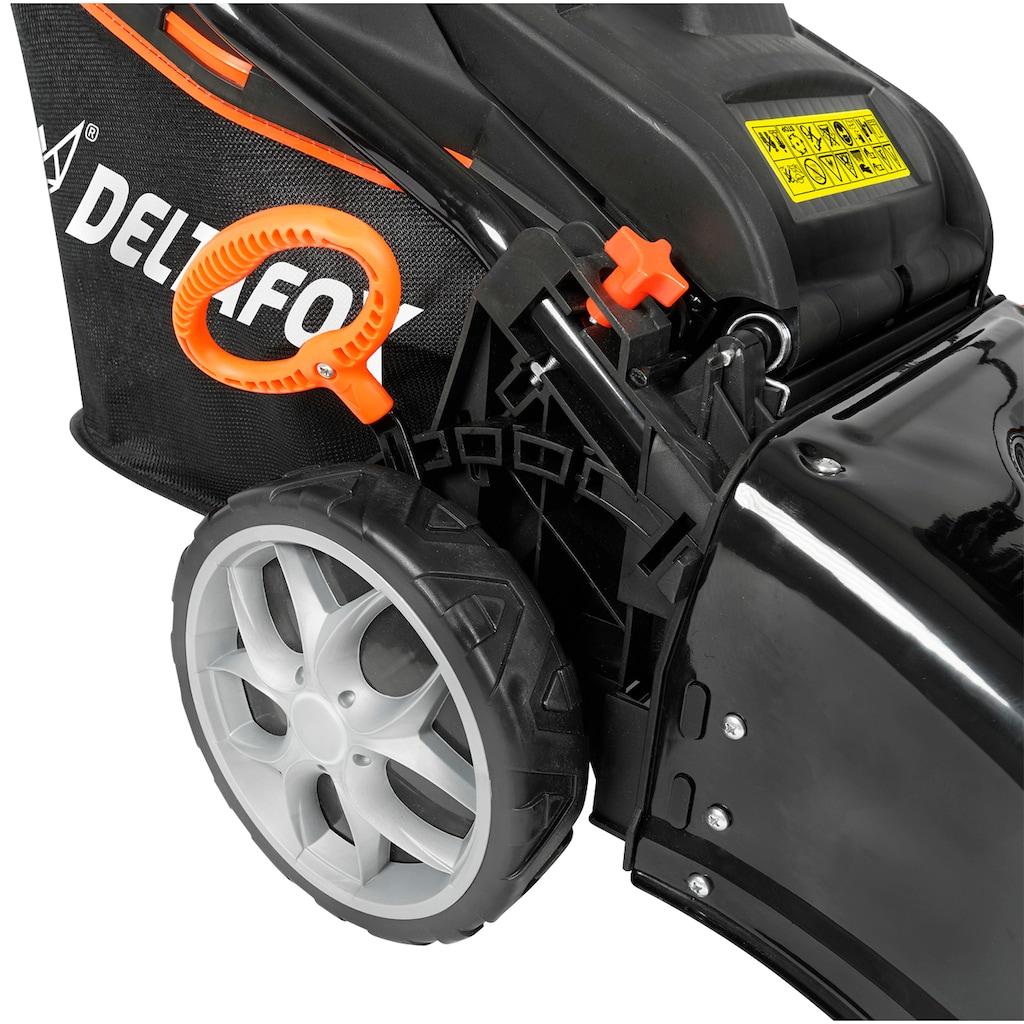 DELTAFOX Benzinrasenmäher »DG-PLM 4613 SP 4in1«, (Set), mit Radantrieb und 2. Messer