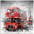 Artland Glasbild »London Westminster Rote Busse«, Auto, (1 St.)