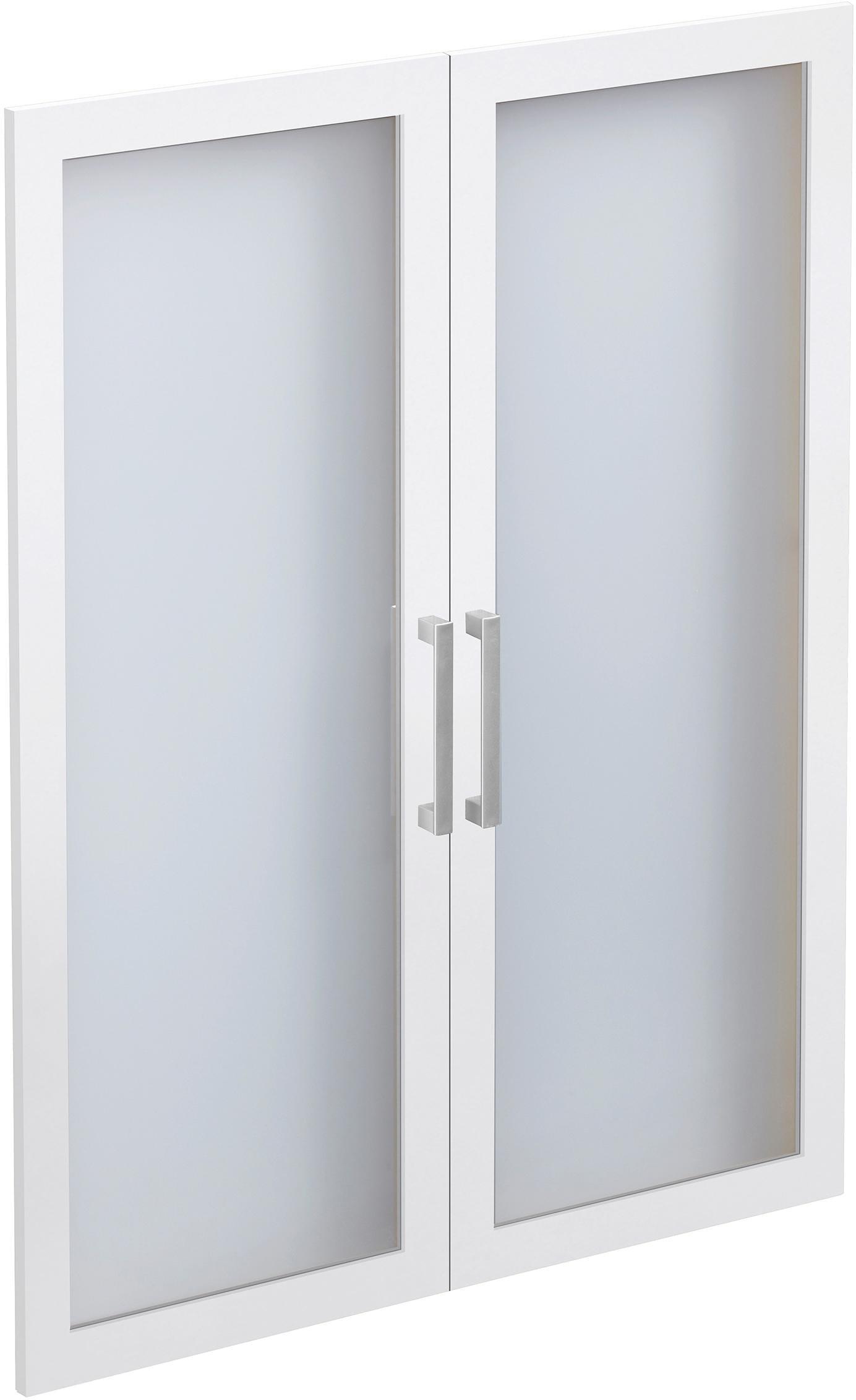 FMD Glastüren-Set »Calvi« | Wohnzimmer > Vitrinen > Glasvitrinen | Weiß | Kunststoff - Melamin | QUELLE