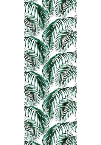 QUEENCE Vinyltapete »Tropische Blätter  -  grün/weiß«, 90 x 250 cm, selbstklebend kaufen
