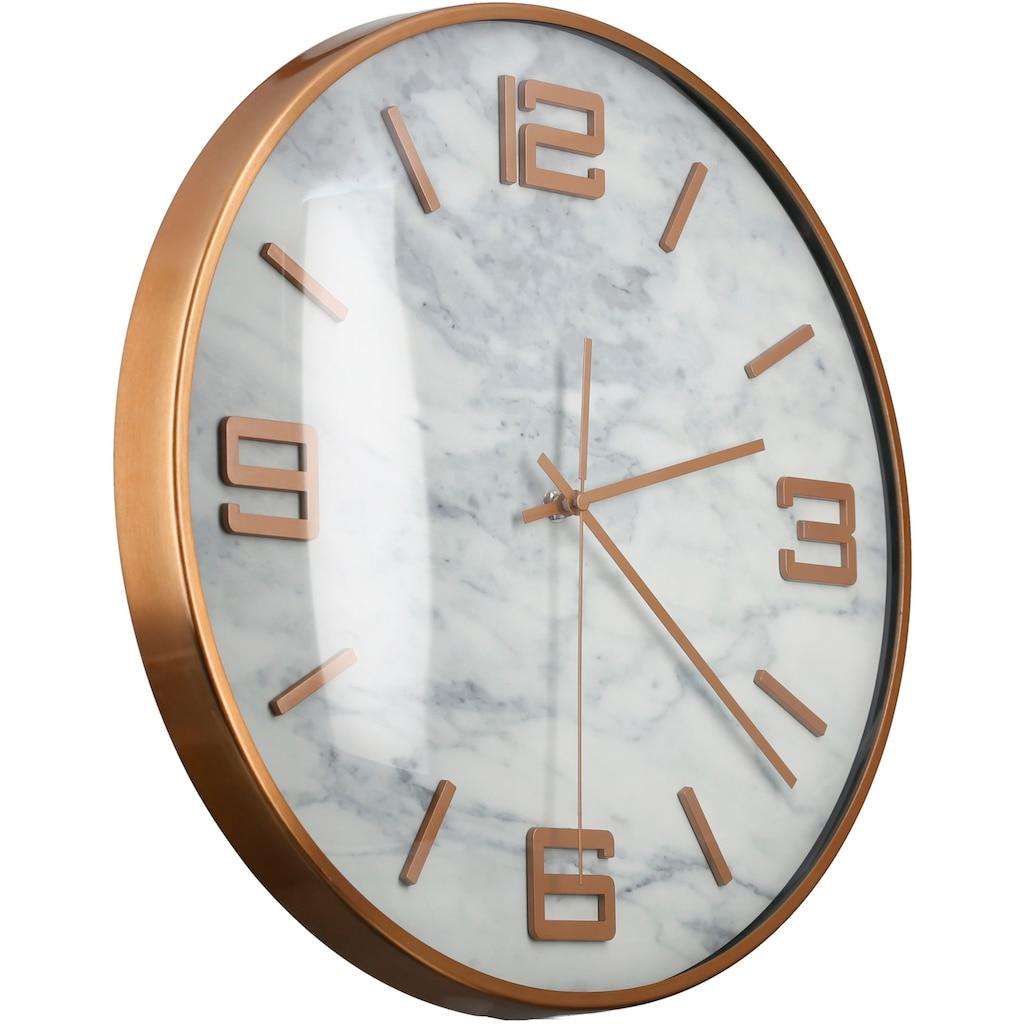 GILDE Wanduhr »Marble, rose«, rund, Ø 40 cm, aus Metall, Ziffernblatt in Marmoroptik, Wohnzimmer