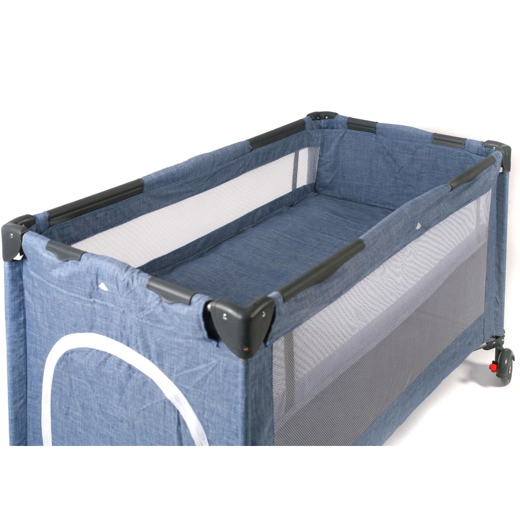 CHIC4BABY Baby-Reisebett »Luxus, Jeans Blue«, inkl. Transporttasche