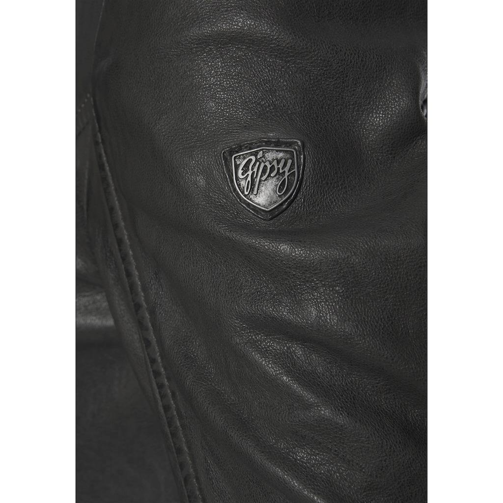 Gipsy Ledermantel »Seneka«, lange Lederjacke mit abzippbarem Kapuzen-Einsatz