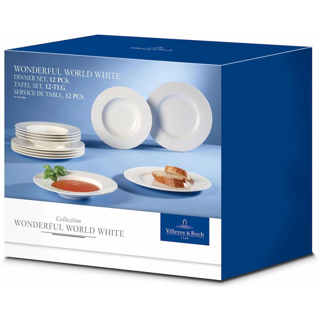 Villeroy & Boch Tafelservice »Wonderful World White«, (Set, 12 tlg.), Mikrowellengeeignet