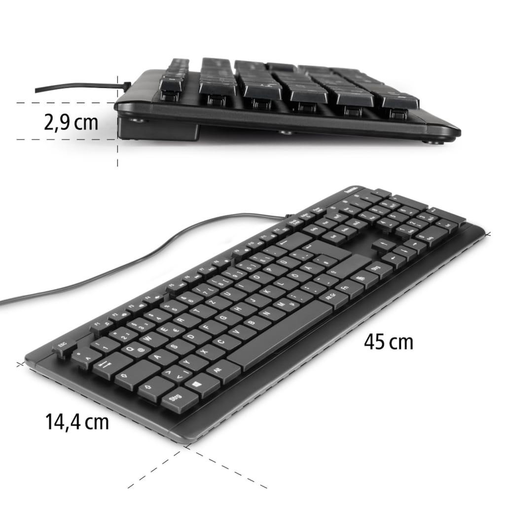 "Hama Abwaschbare Tastatur ""KC-600"", kabelgebunden, USB-A-St"