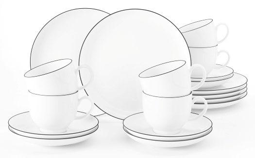 Seltmann Weiden Kaffeeservice »Lido«, (Set, 18 tlg.), mit schwarzer Rand-De günstig online kaufen