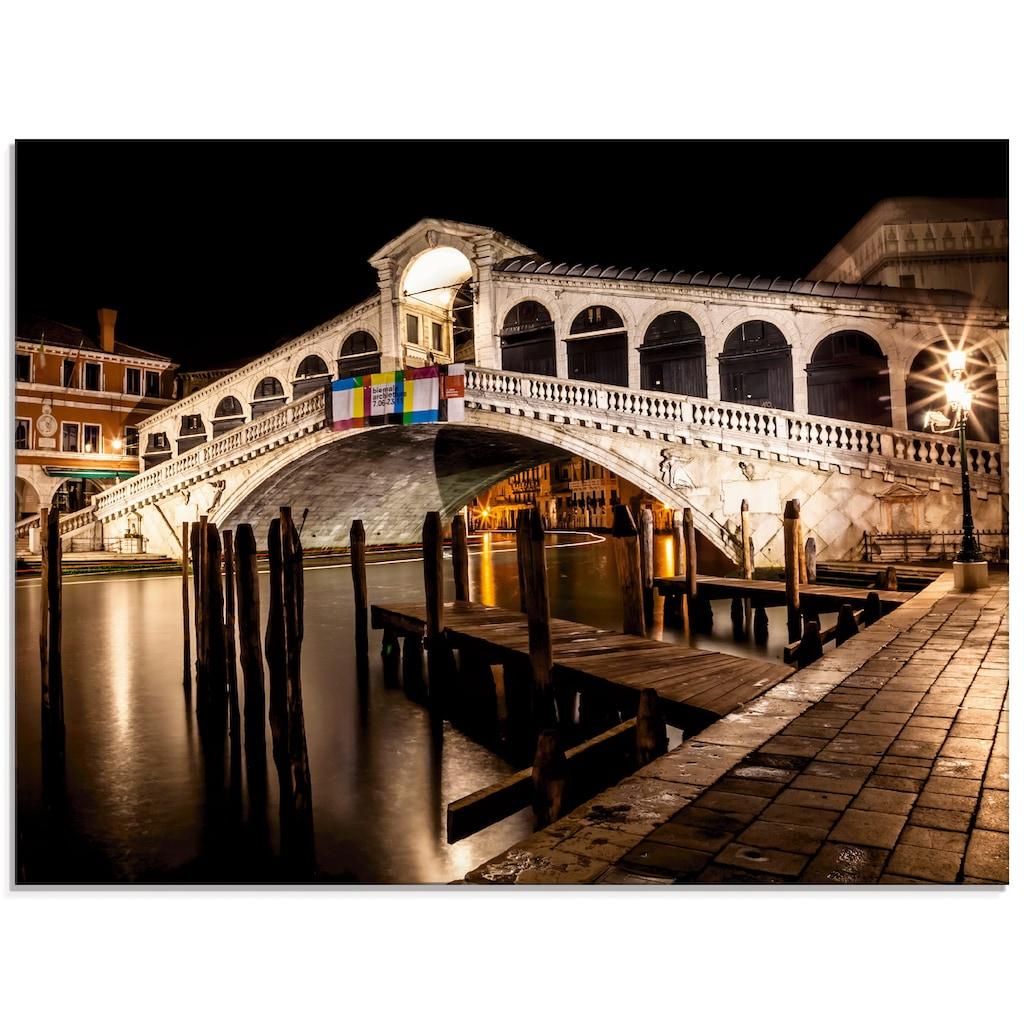 Artland Glasbild »Venedig Canal Grande & Rialto Brücke II«, Brücken, (1 St.)
