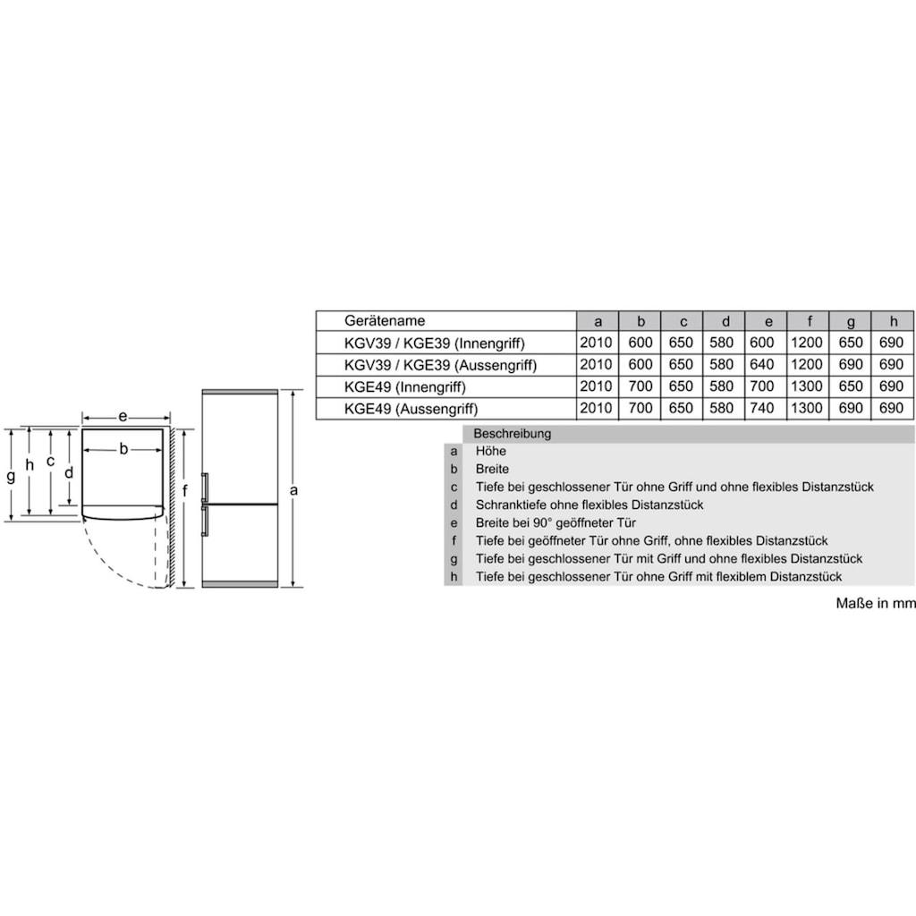 BOSCH Kühl-/Gefrierkombination »KGE39ACA«, Serie 6