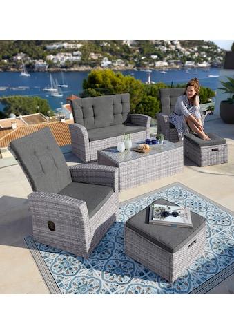KONIFERA Loungeset »Lyon«, (12 tlg.), 2er Sofa, 2 Sessel, 2 Hocker, Tisch, Polyrattan kaufen