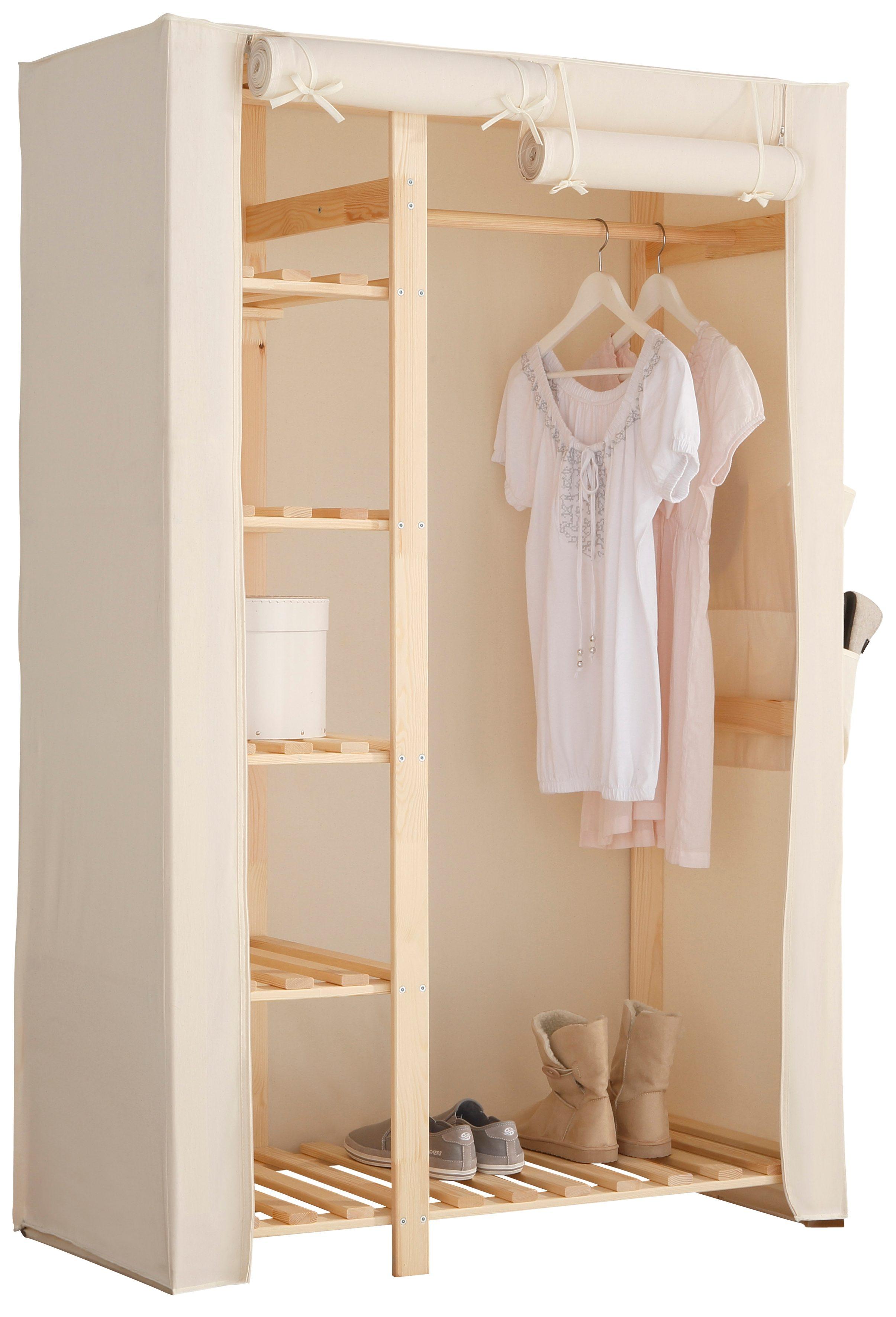 Home affaire Stoffschrank »Lili« | Schlafzimmer > Kleiderschränke > Ordnungssysteme | Natur | Massiver - Kiefer - Polyester | HOME AFFAIRE