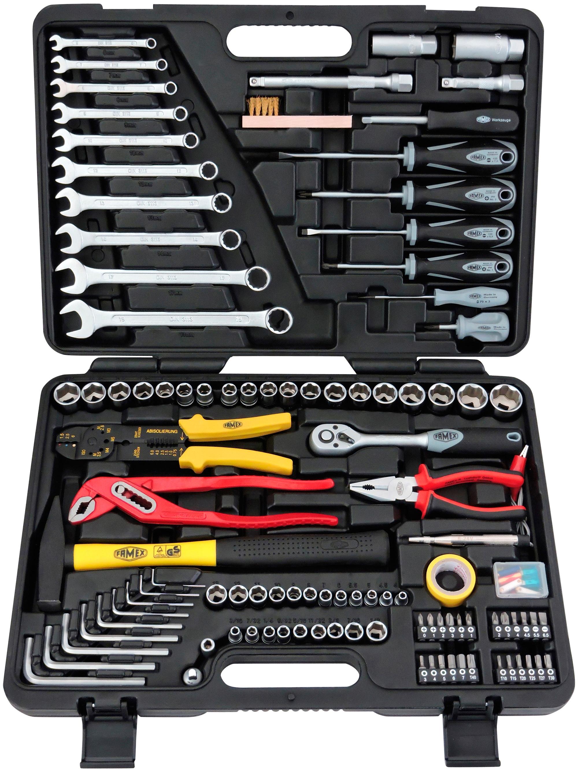 FAMEX Werkzeugkoffer »140-38«, 192-tlg. Set, für KFZ und Haushalt   Baumarkt > Werkzeug > Werkzeug-Sets   Schwarz   Cv - Poliert - Verchromt   FAMEX