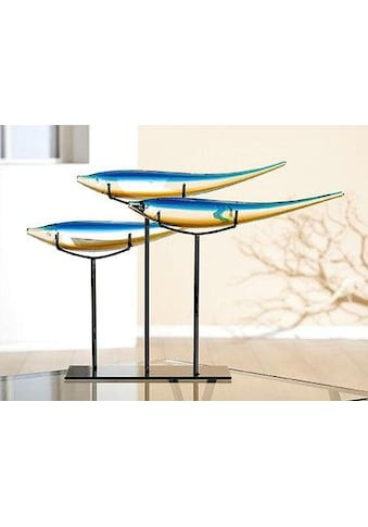 GILDE GLAS art Dekofigur »Fischschwarm«, Dekoobjekt, Tierfigur, Höhe 37 cm, modernes Design, aus Glas, mundgeblasen, Wohnzimmer kaufen