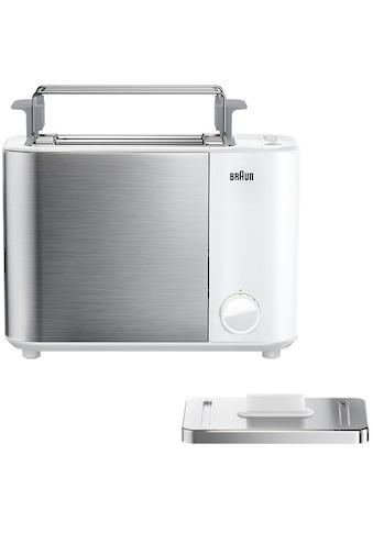 Braun Toaster »HT 5010.WH weiß silber ID Collection«, 2 kurze Schlitze, 1000 W kaufen