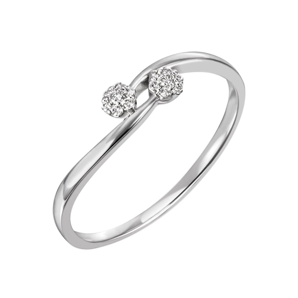 Firetti Diamantring »ca. 1,3 mm breit, glänzend und rhodiniert«, mit Brillanten