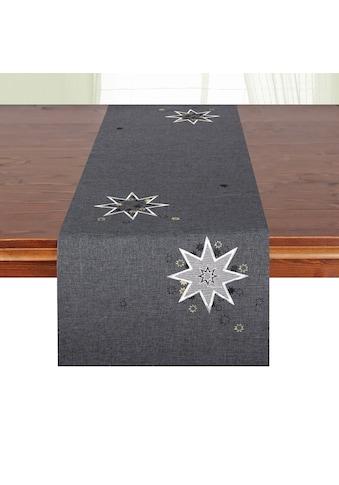 Delindo Lifestyle Tischläufer »Weihnachtssterne«, (1 St.), Glattes Gewebe, bestickt kaufen