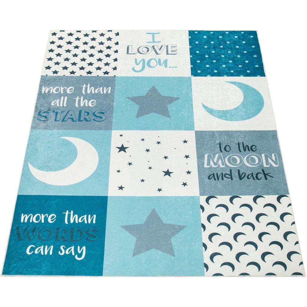 Paco Home Kinderteppich »Aleyna 101«, rechteckig, 6 mm Höhe, Kinder Design, Mond + Sterne Motiv, Kinderzimmer