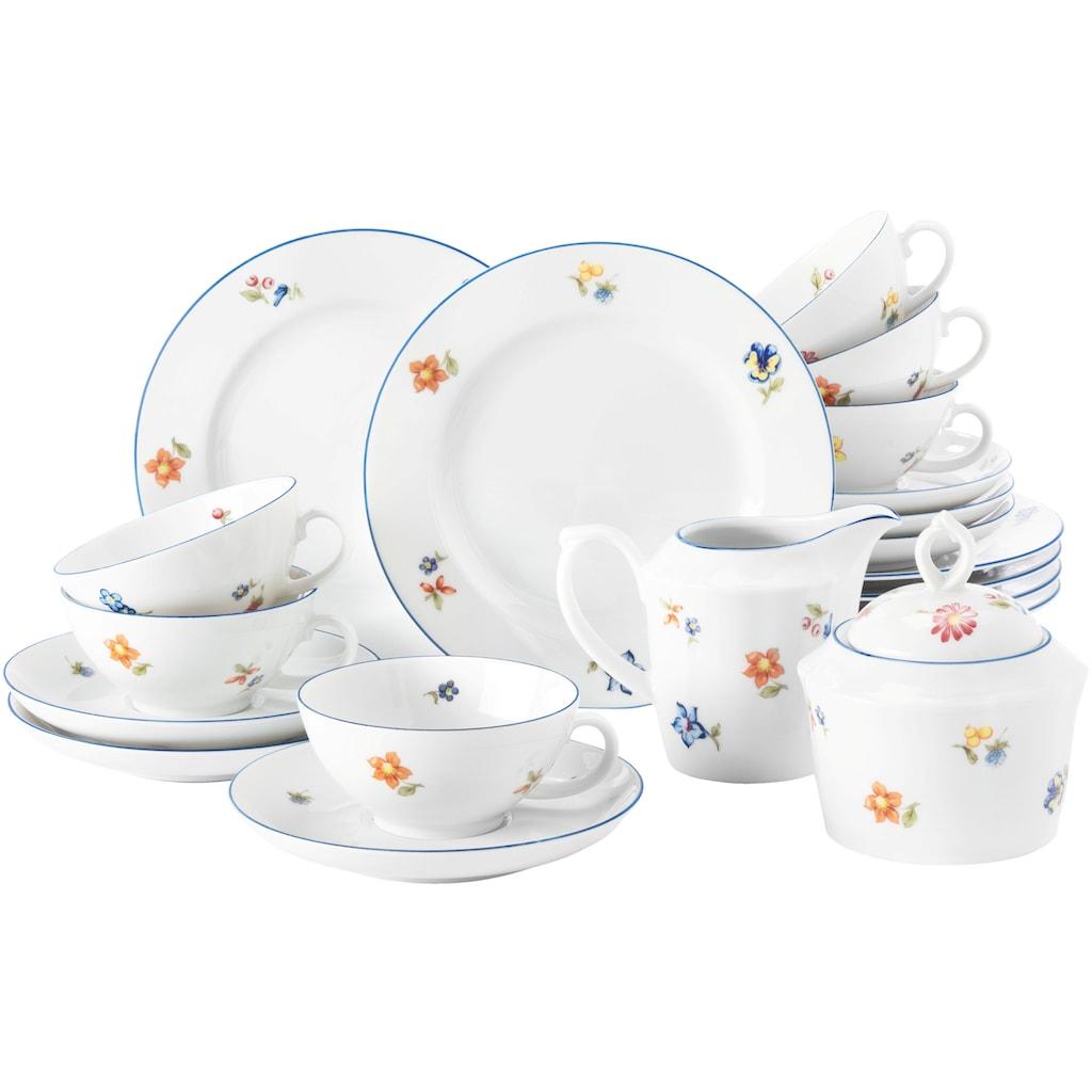Seltmann Weiden Teeservice »Sonate Nostalgie«, (Set, 20 tlg., 6 Teetassen 0,14 l 6 Untertassen 13 cm 6 Brotteller 17 cm 1 Milchkännchen für 6 Personen 1 Zuckerdose für 6 Personen), in romantischer Form