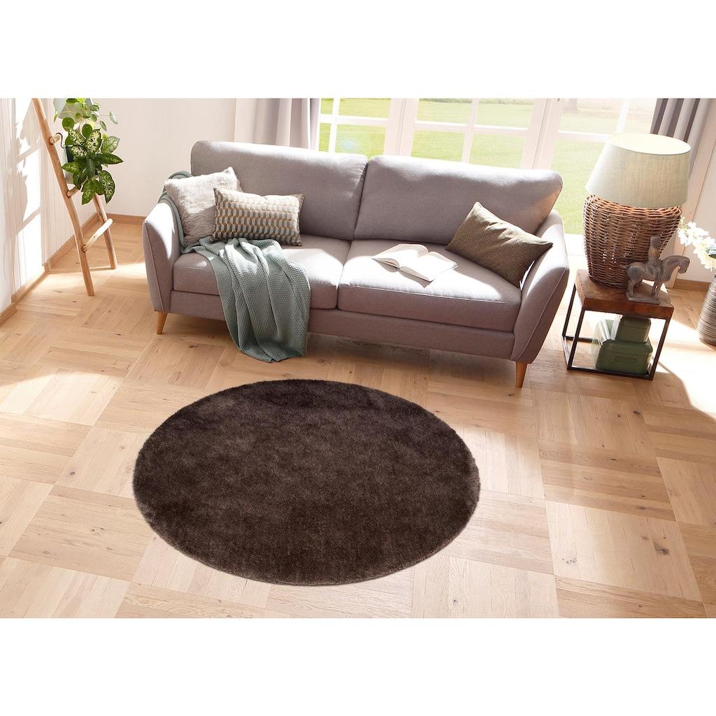 my home Hochflor-Teppich »Desner«, rund, 38 mm Höhe, Besonders weich durch Microfaser
