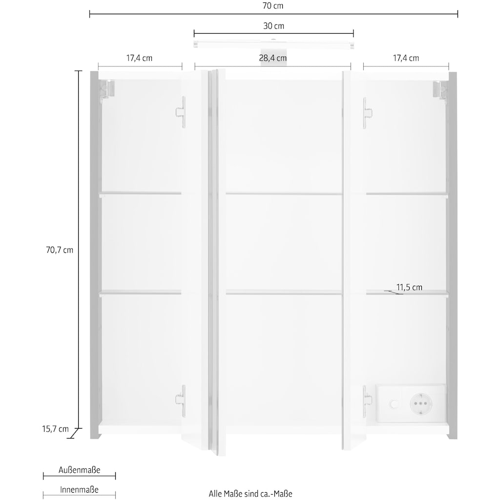 Schildmeyer Spiegelschrank »Lagona«, Breite 70 cm, 3-türig, LED-Beleuchtung, Schalter-/Steckdosenbox, Glaseinlegeböden, Made in Germany