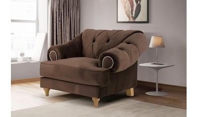 Home affaire Sessel »Alegra«, mit Knopfheftung im Rücken, Keder und Nieten in Armlehnen kaufen