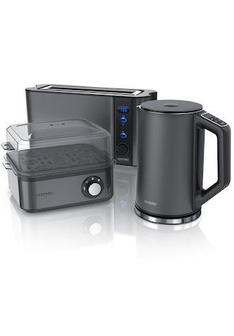 Arendo Frühstücks-Set »Wasserkocher / Toaster / Eierkocher«, 3-teilig in grau kaufen