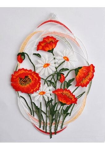 Stickereien Plauen Fensterbild »Mohnblumen«, mit echter Plauener Spitze Stickerei kaufen
