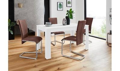 Homexperts Essgruppe »Nick3-Mulan«, (Set, 5 tlg.), mit 4 Stühlen, Tisch in weiß,... kaufen