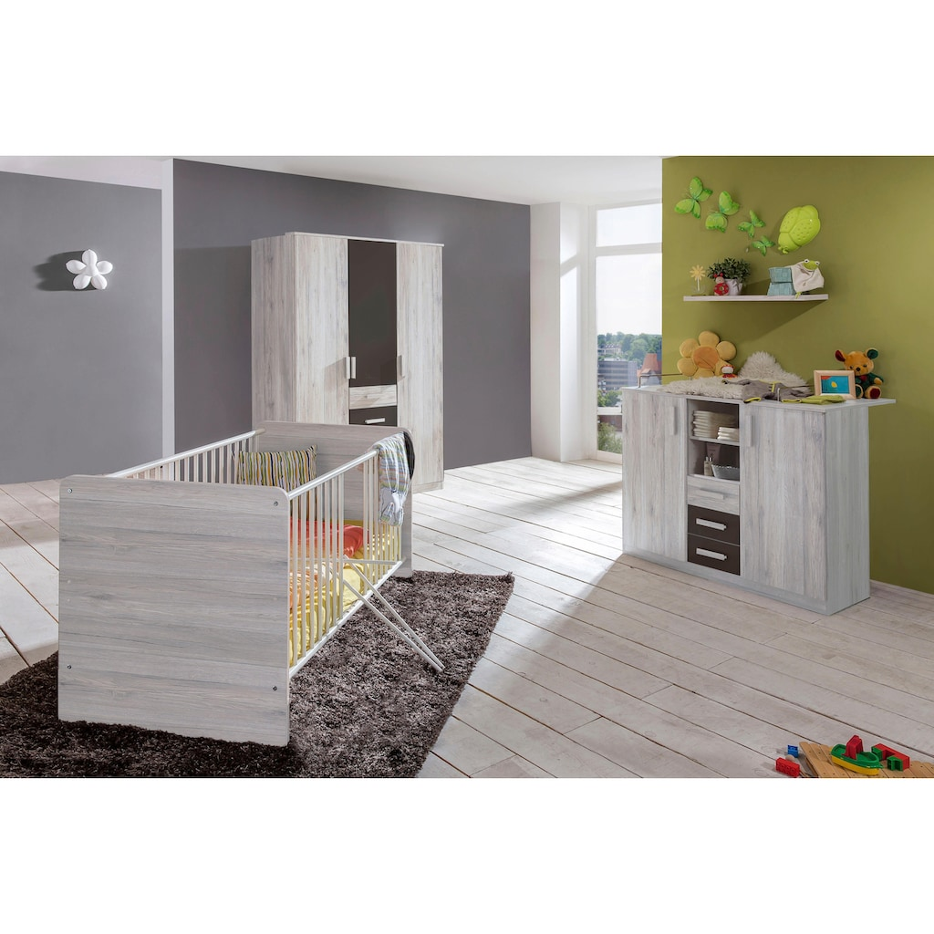 Babyzimmer-Komplettset »Bergamo«, (Set, 3 tlg.), Bett + Wickelkommode + 3 trg. Schrank