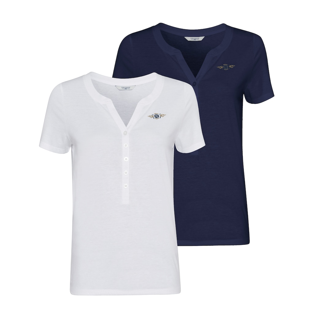 TOM TAILOR Polo Team Blusenshirt, im attraktiven Doppelpack - ein Must-Have-Basic