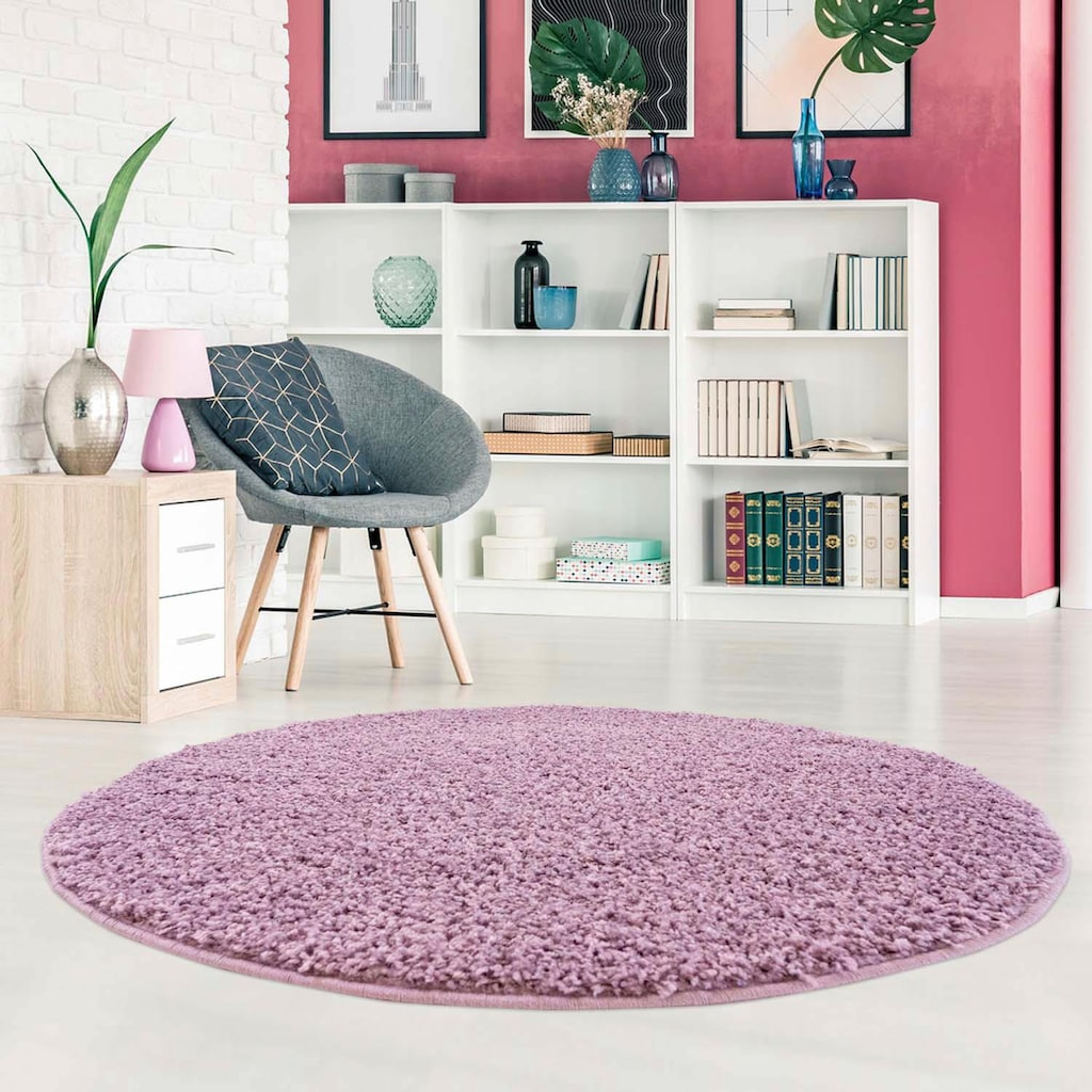 Carpet City Hochflor-Teppich »Pastell Shaggy300«, rund, 30 mm Höhe, Wohnzimmer