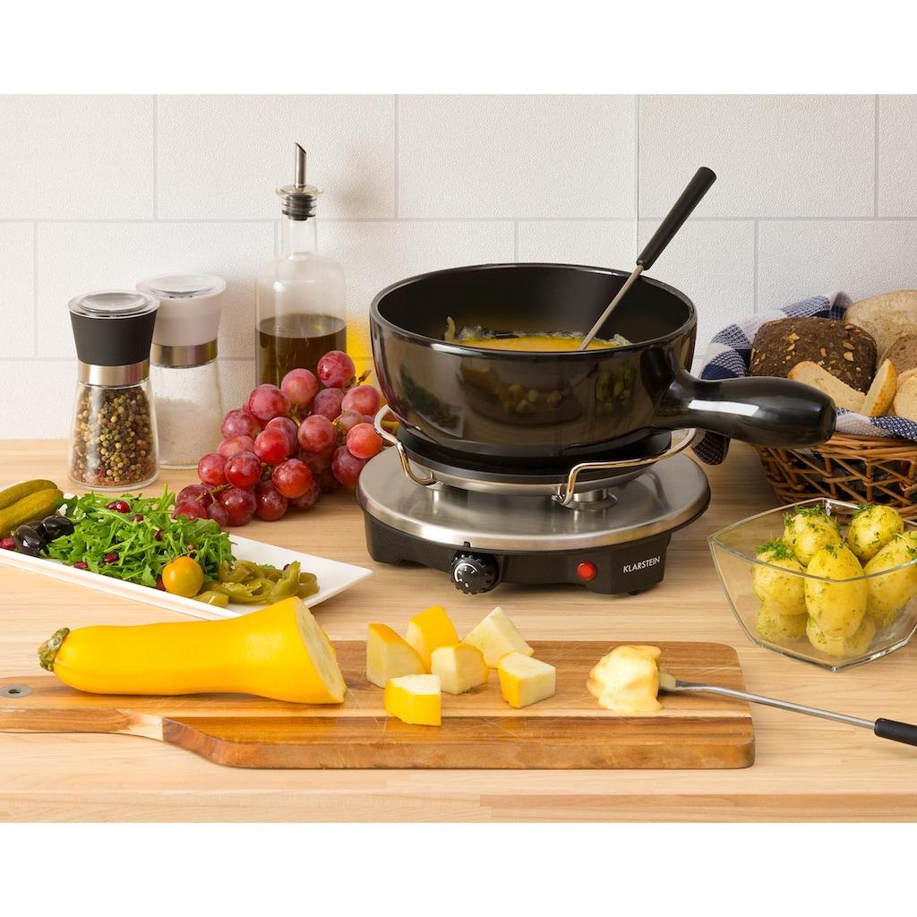 Klarstein Fondue-Set Keramiktopf Raclette 1200W Thermostat Edelstahlgabeln