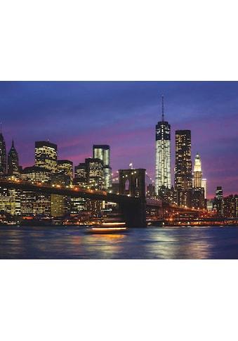 Home affaire Glasbild »Brooklyn Bridge, East River und Manhattan in der Nacht, New York City« kaufen