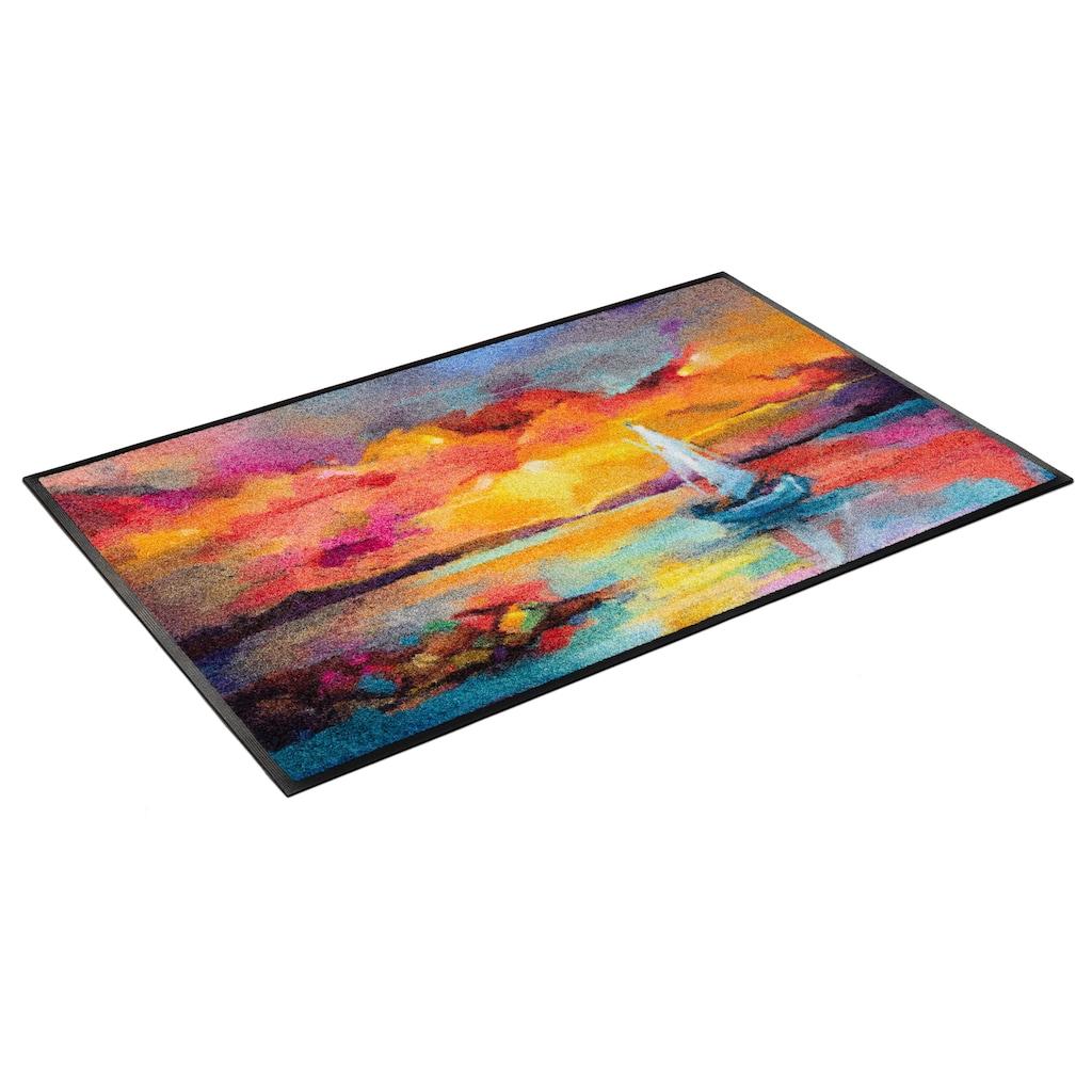 wash+dry by Kleen-Tex Fußmatte »Sunset Boat«, rechteckig, 7 mm Höhe, Schmutzfangmatte, In- und Outdoor geeignet, waschbar