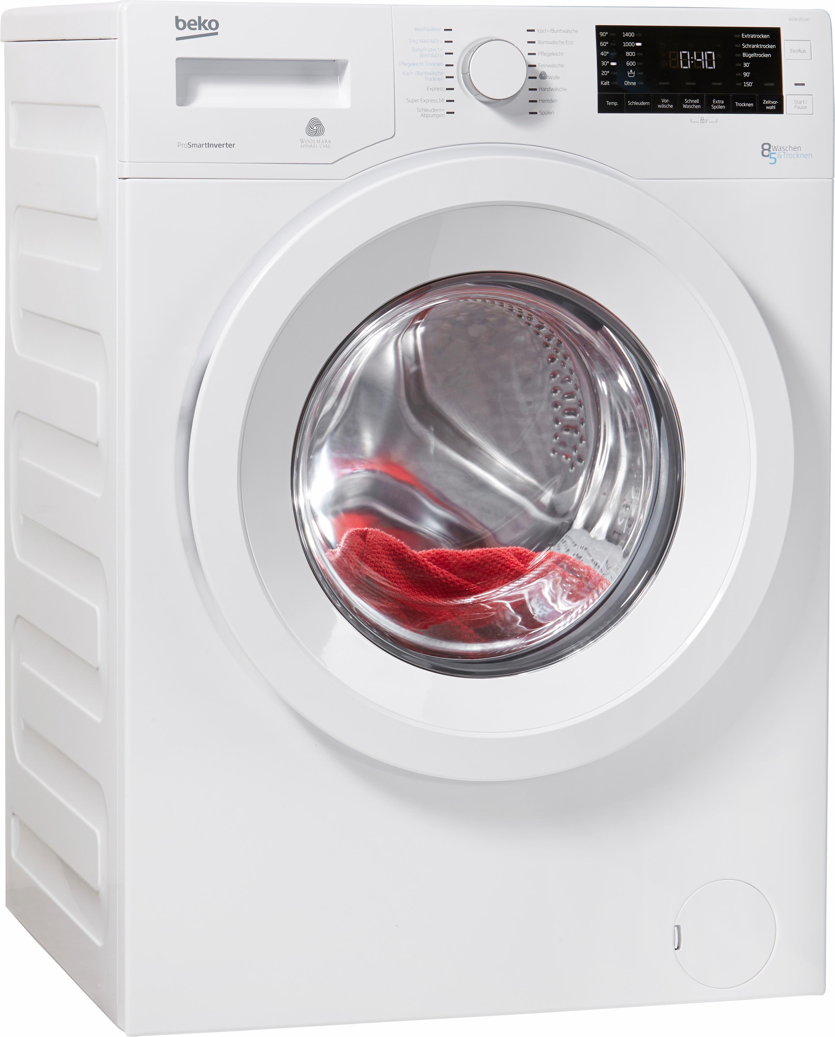 BEKO Waschtrockner WDW 85140, 8 kg / 5 kg, 1400 U/Min