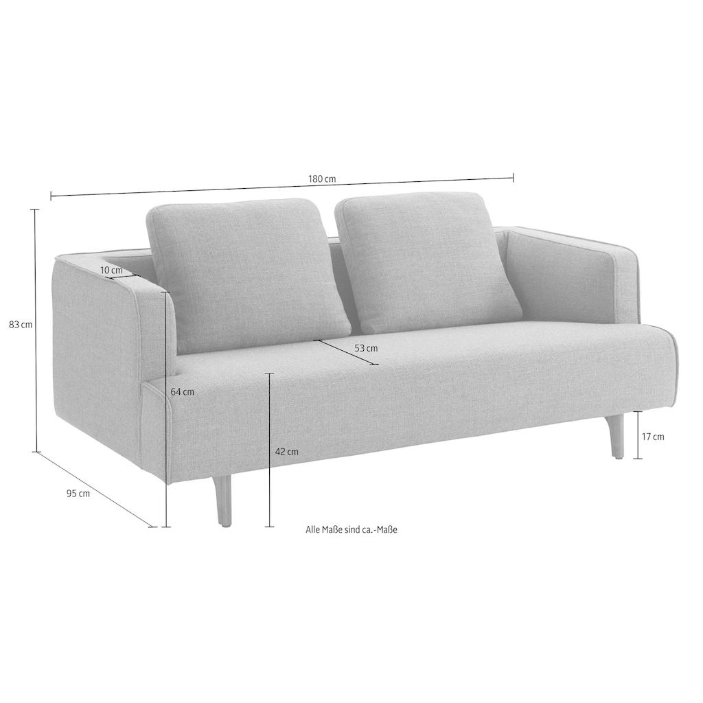 hülsta sofa 3-Sitzer »hs.440«, wahlweise in Stoff oder Leder, Fuß Nussbaum
