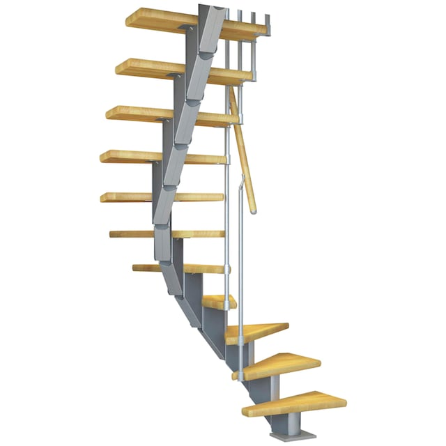 DOLLE Mittelholmtreppe »Frankfurt Buche 75«, bis 301 cm, Metallgeländer, versch. Ausführungen
