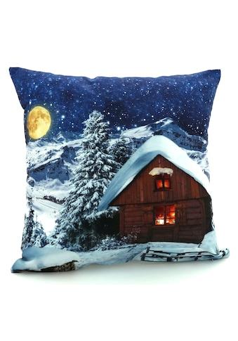 Weckbrodt Dekokissen »Schneehütte bei Nacht«, Velour kaufen
