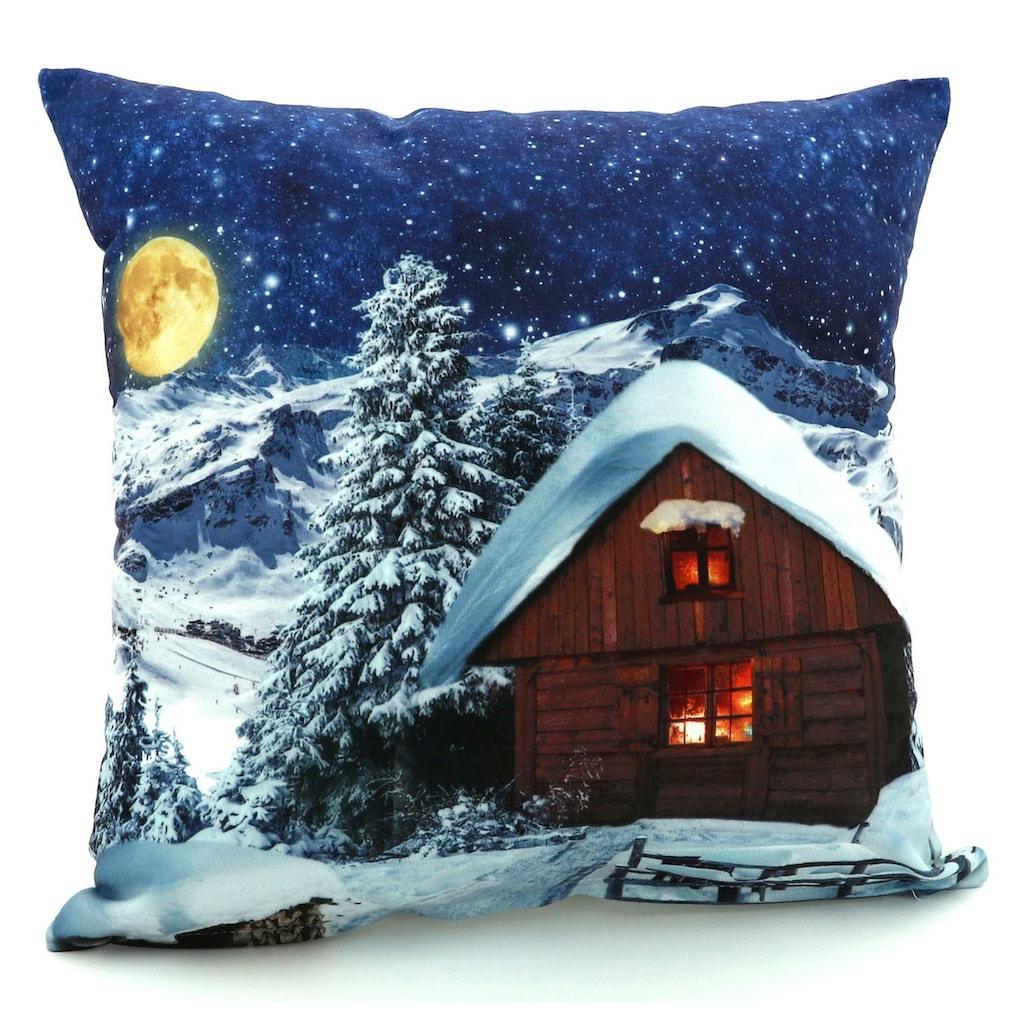Weckbrodt Dekokissen »Schneehütte bei Nacht«, Velour