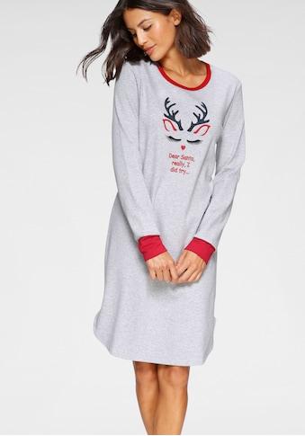 Schiesser Nachthemd, mit weihnachtlichem Rentier-Print kaufen