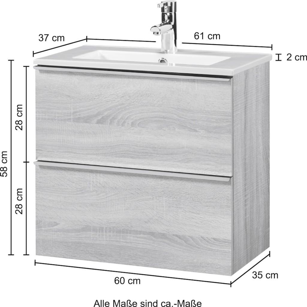 CYGNUS BATH Waschtisch »Malaga 600«, Breite 60 cm, Tiefe 36 cm, SlimLine