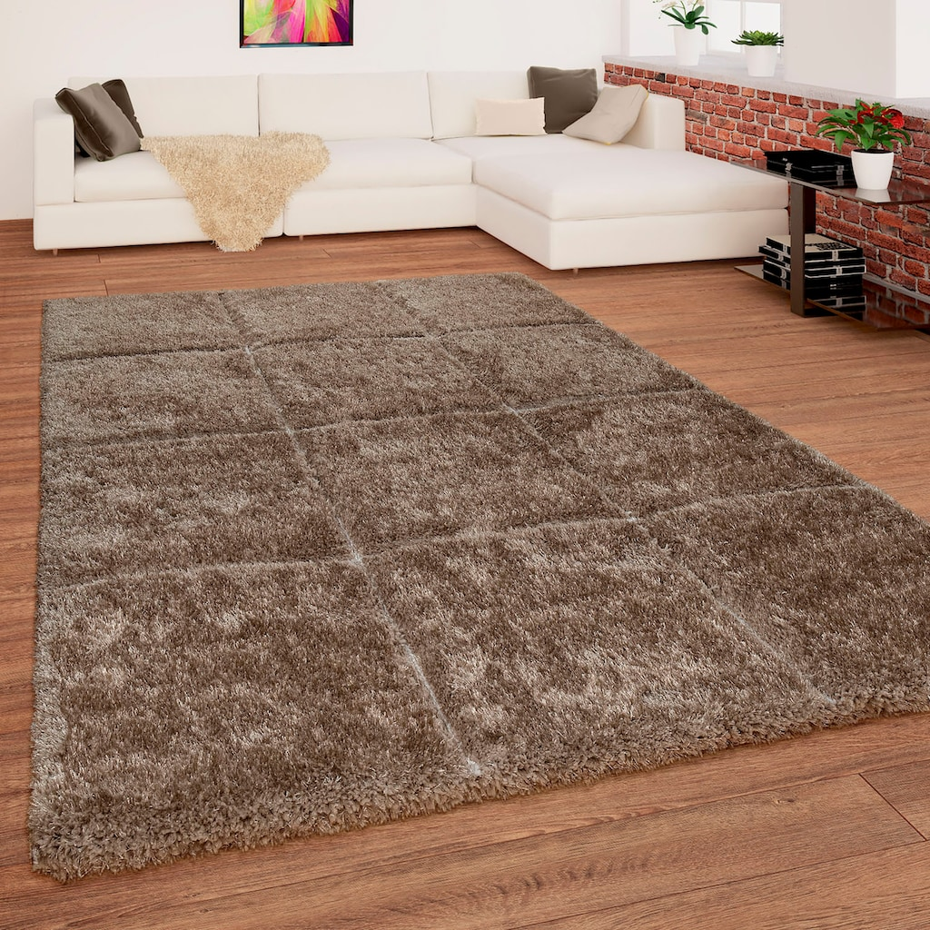 Paco Home Hochflor-Teppich »Palma 336«, rechteckig, 45 mm Höhe, Hochflor-Shaggy mit 3D-Muster